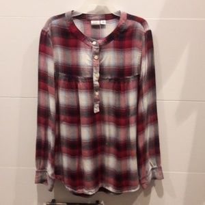 Girls flannel Henley style top.